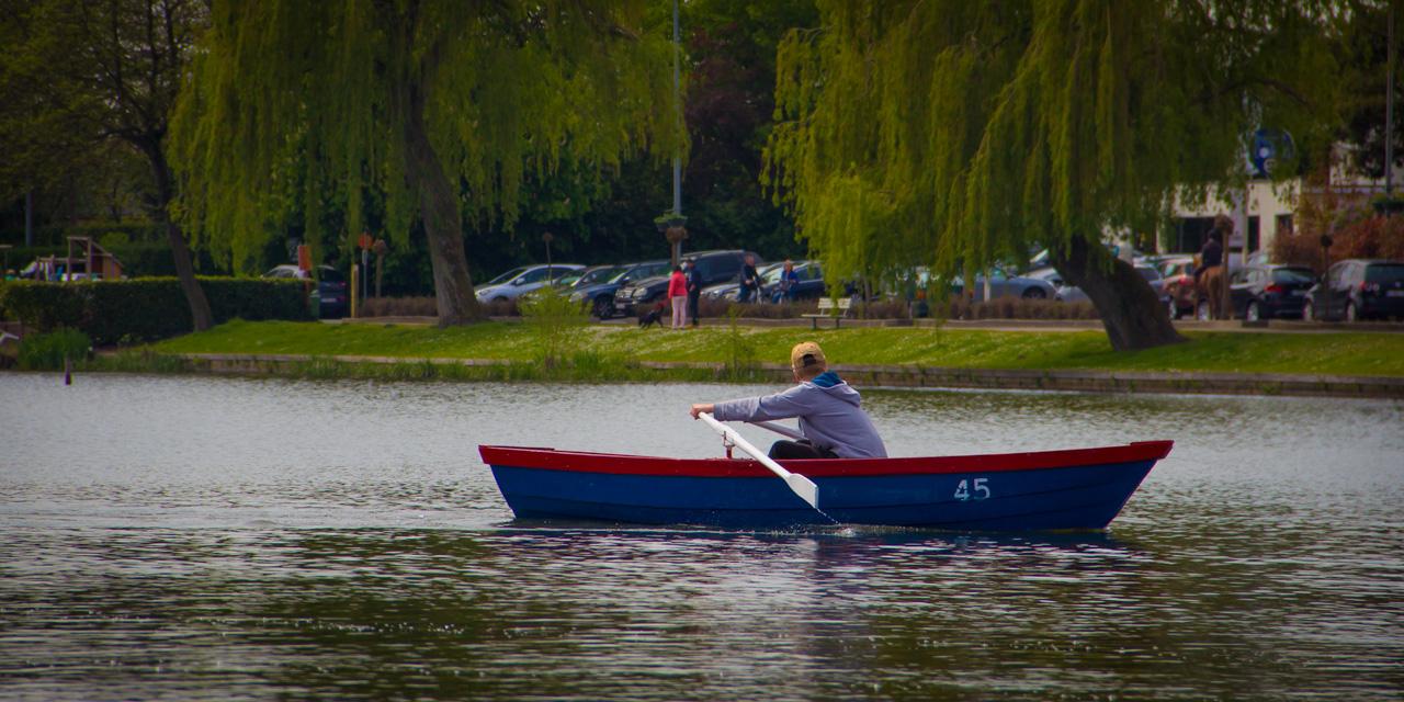 Jongen roeit met een blauw-rode roeiboot niet ver van de kant waar de treurwilgen pronken