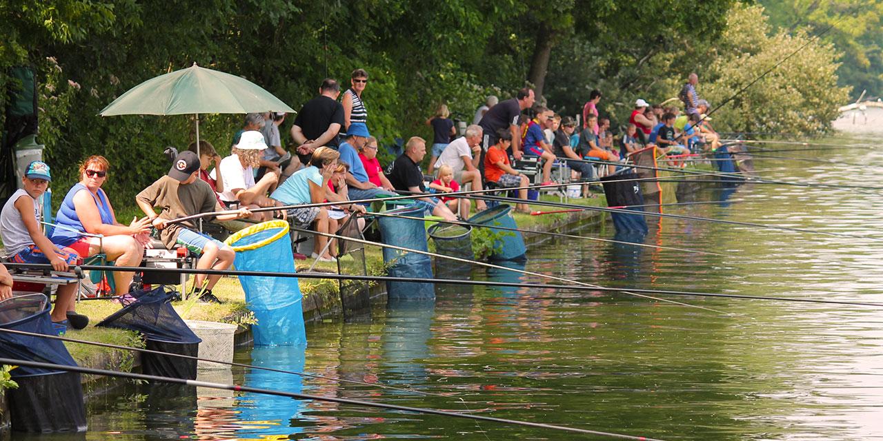 Tal van wedstrijdvissers zitten aan de waterkant met vislijn en leefnet geduldig te wachten op de volgende vangst.